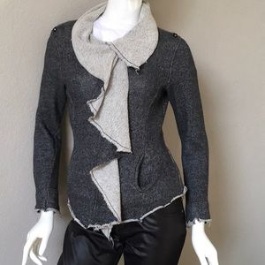 Sweaters - Distressed Gray Zip-Front Sweater